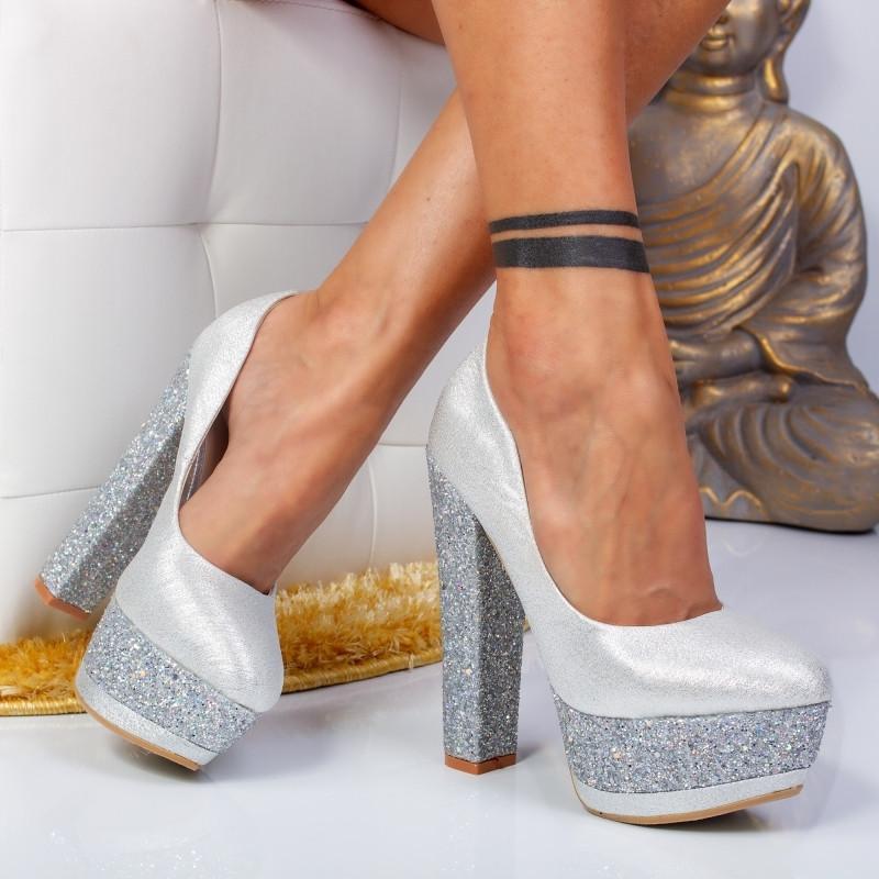 """Pantofi """"MireaFashion"""" Cod: XKK6503 SILVER (B013)(C012) (Y09)"""