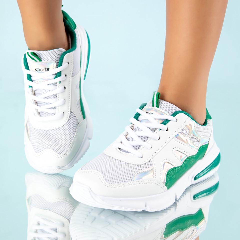 """Pantofi Sport """"MireaFashion"""" Cod: HQ728 WHITE/GREEN (A 013)"""
