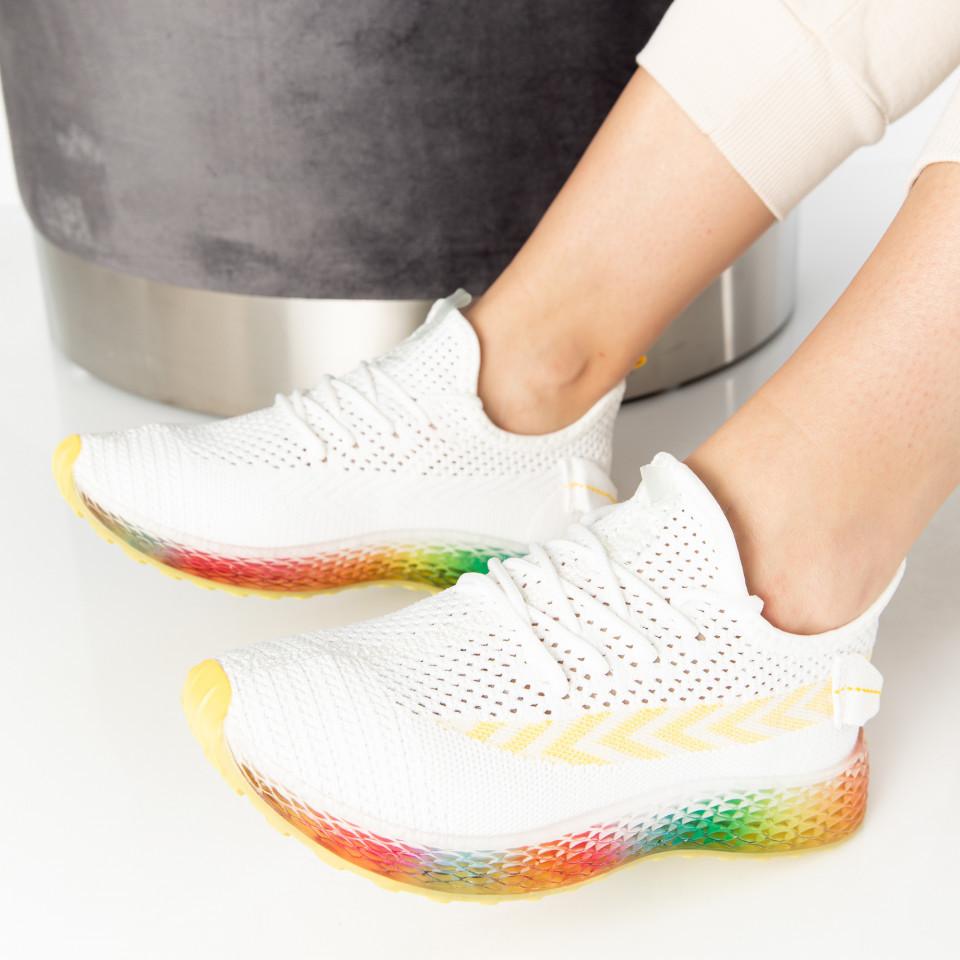 """Pantofi Sport """"MireaFashion"""" Cod: J77-3 WHITE/YELLOW (F04)"""
