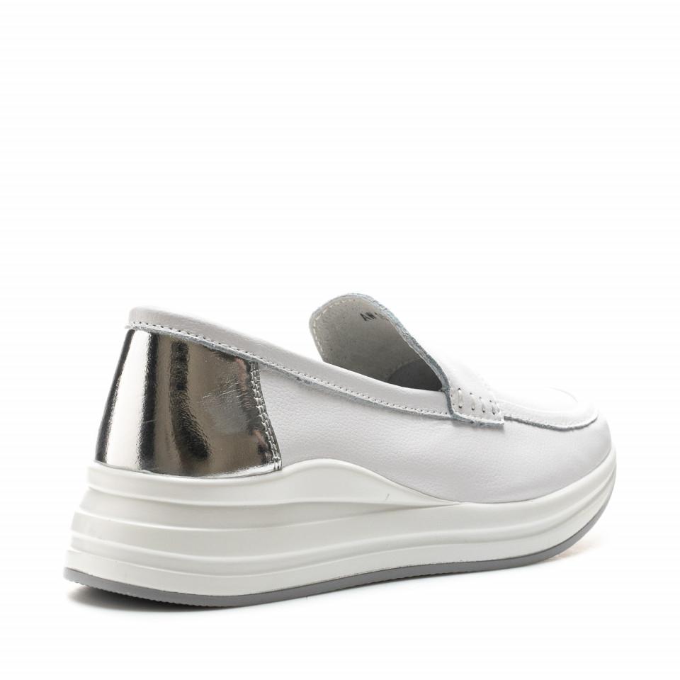 Pantofi Cod: AW155 WHITE LEATHER (E010)