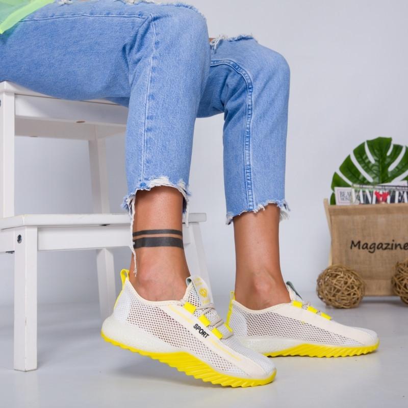 """Pantofi Sport """"MireaFashion"""" Cod: 1603 WHITE/YELLOW (J07)"""