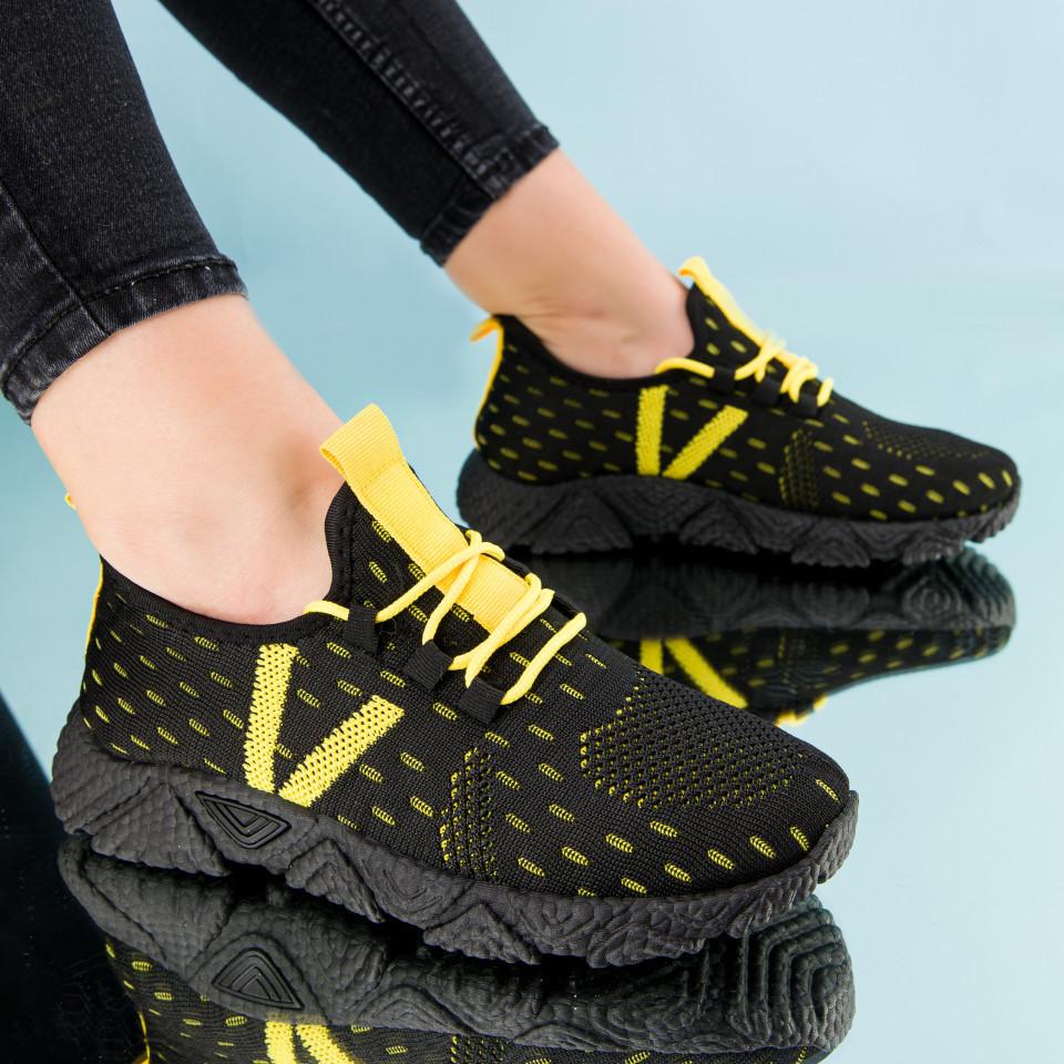 "Pantofi sport ""MireaFashion"" Cod: HQ-212-288 BLACK/YELLOW (C 013)"