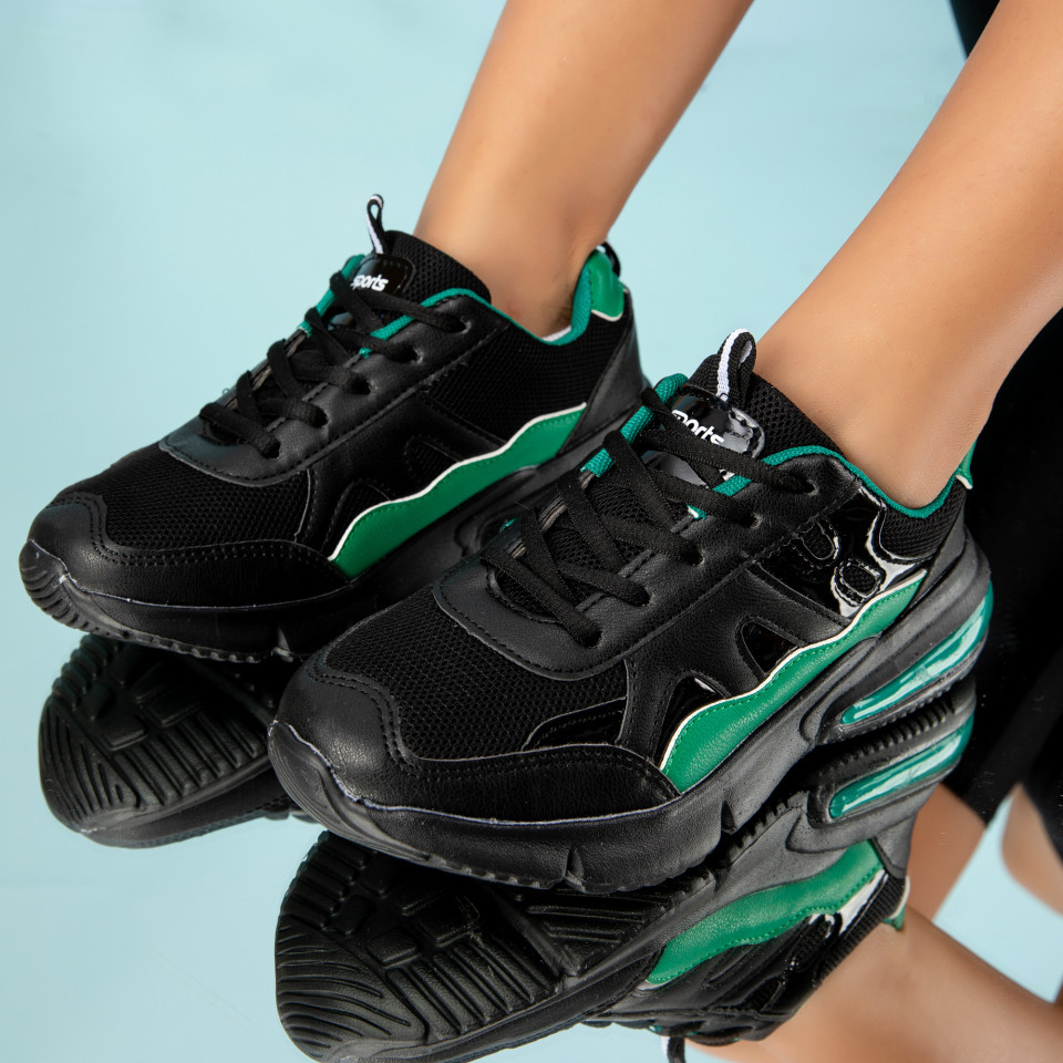 "Pantofi Sport ""MireaFashion"" Cod: HQ728 BLACK/GREEN (M06)"