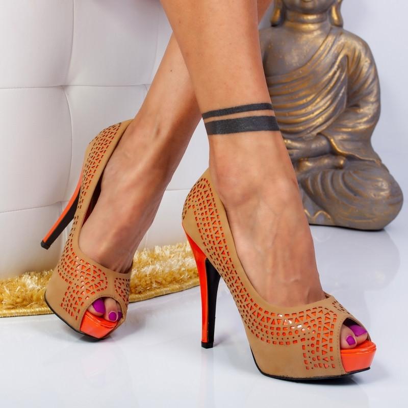 "Pantofi ""MireaFashion"" Cod: FG12-8 CAMEL (B01)"