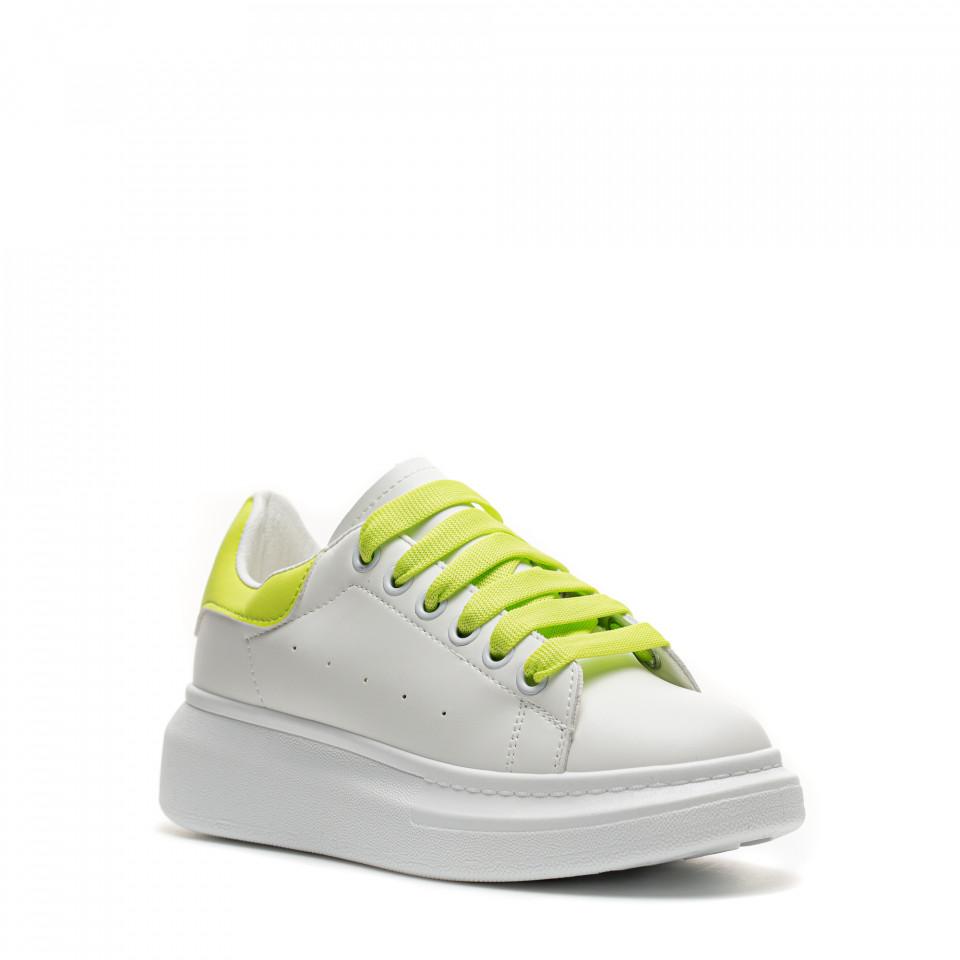 Pantofi Sport Cod: 20C01 WHITE/GREEN (D01)