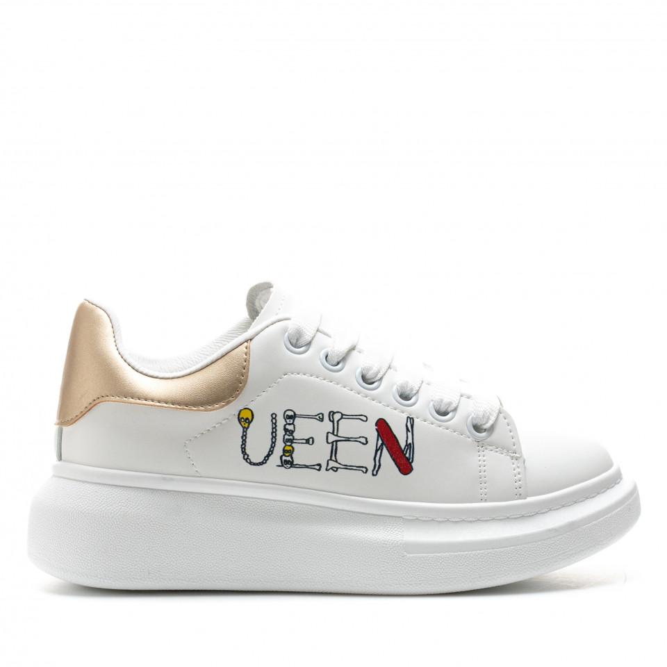 Pantofi Sport Cod: 20C09 WHITE/GOLDEN (D04)