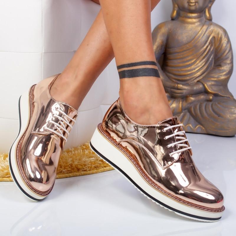 "Pantofi ""MireaFashion"" Cod: 7A130 CHAMPAGNE (T02)"