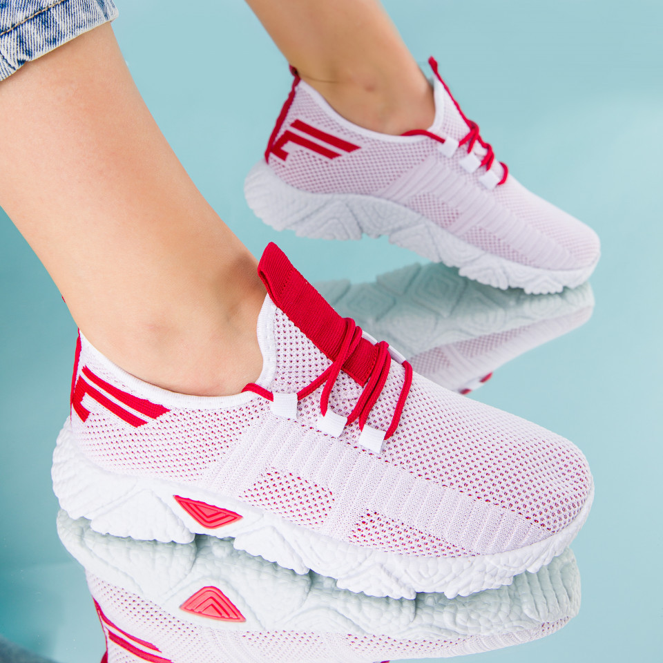 "Pantofi sport ""MireaFashion"" Cod: HQ-205-252 WHITE/RED (H06)"
