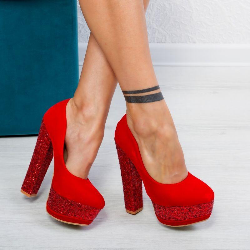 "Pantofi ""MireaFashion"" Cod: XKK6605 RED (K04)"