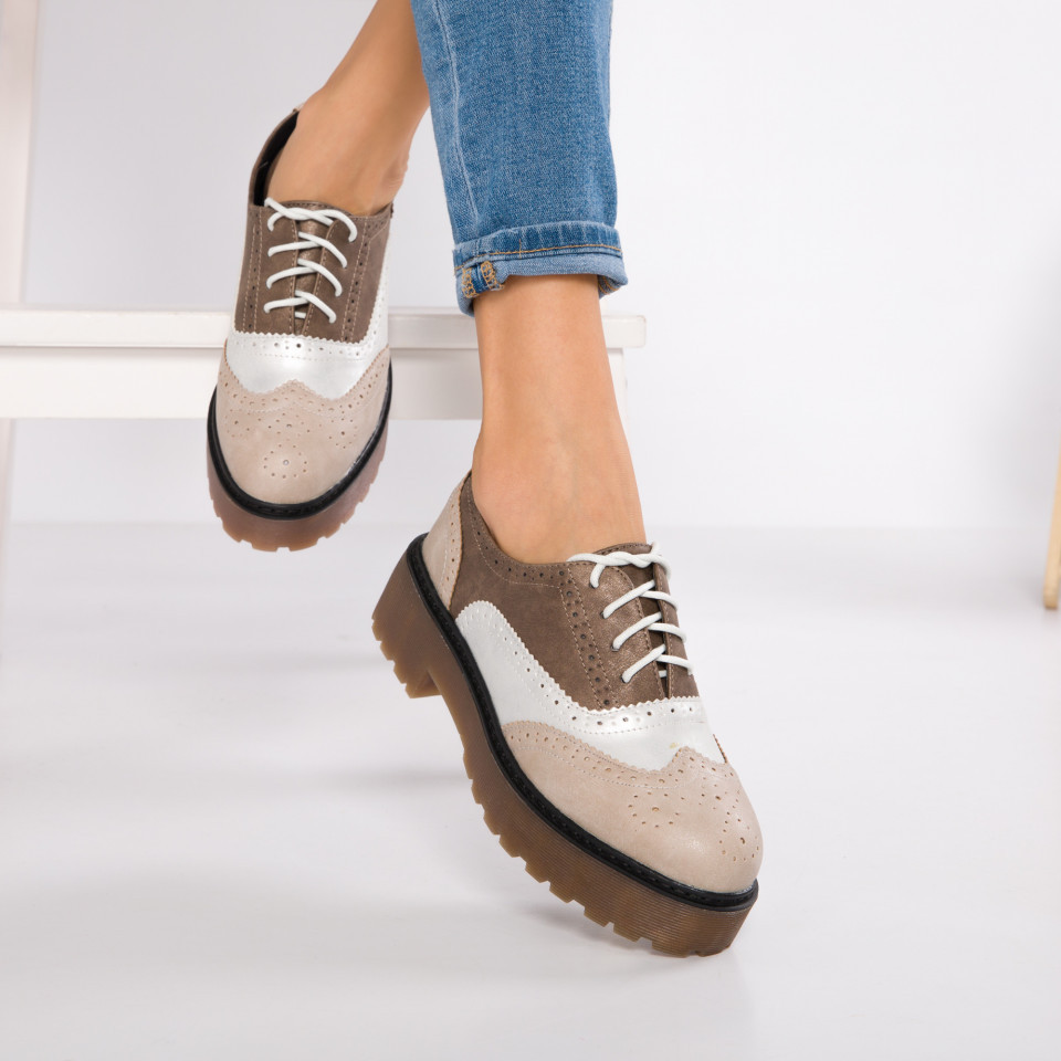 "Pantofi ""MireaFashion"" Cod: GQ20 BEIGE (O 03- M04)"