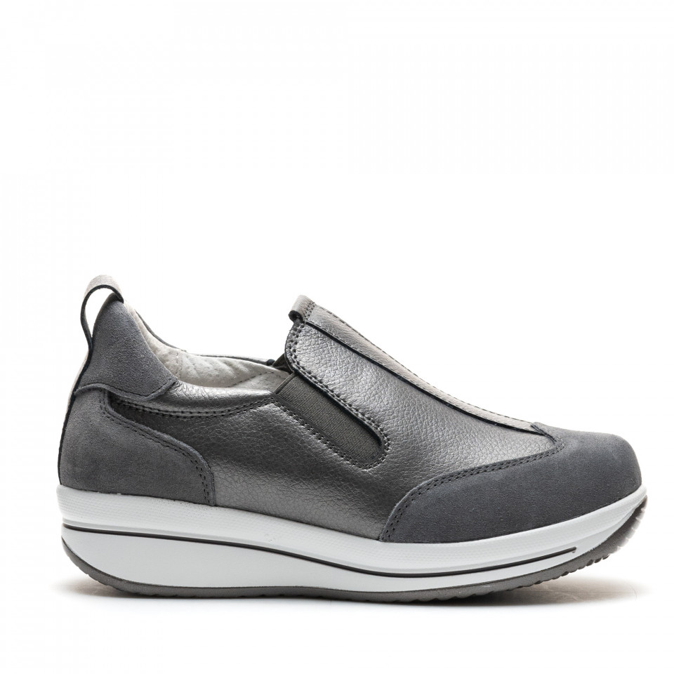 Pantofi Sport Cod: F002-90 D.GREY LEATHER (G04)