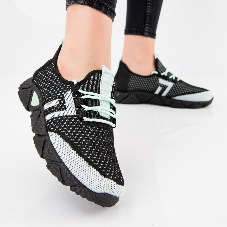 "Pantofi sport ""MireaFashion"" Cod: HQ-203-242 BLACK/L.GREEN (B012)"