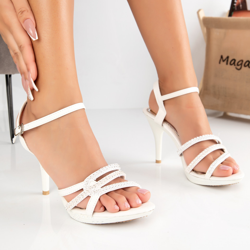 "Sandale ""MireaFashion"" Cod: 2013-9 WHITE (K05)"