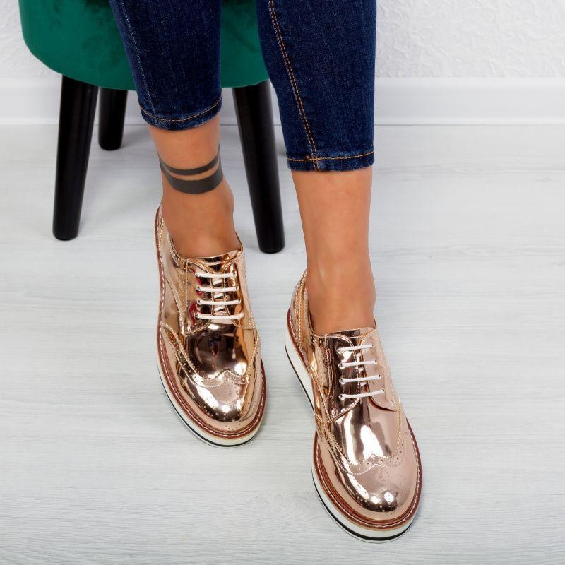 "Pantofi ""MireaFashion"" Cod: 7A129 CHAMPAGNE (F06)"