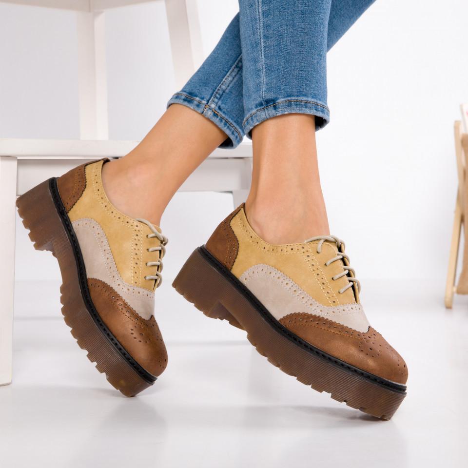 "Pantofi ""MireaFashion"" Cod: GQ20 CAMEL (G07)"