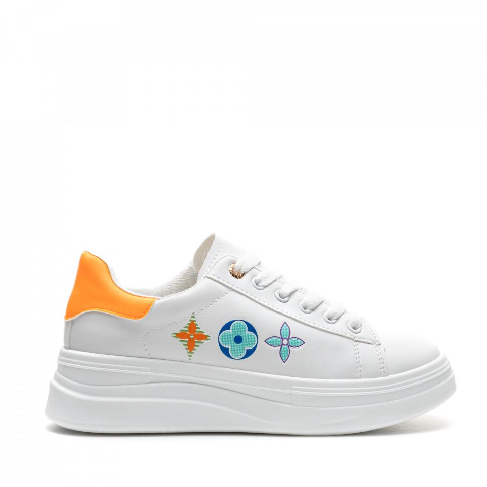 Pantofi Sport Cod: 20A19 WHITE/ORANGE (E010)