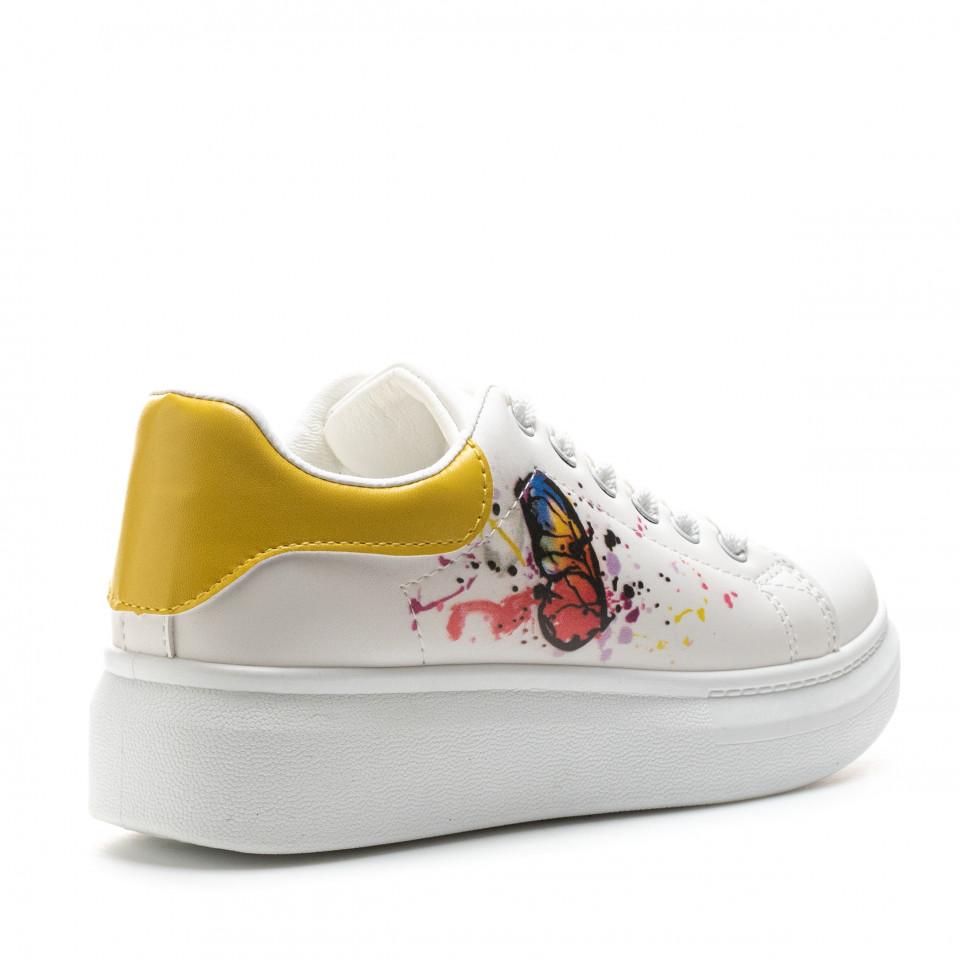 Pantofi Sport Cod: 2102 WHITE/YELLOW (J03)
