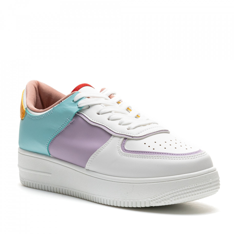 Pantofi Sport Cod: R-698 WHITE/VIOLET (E02)