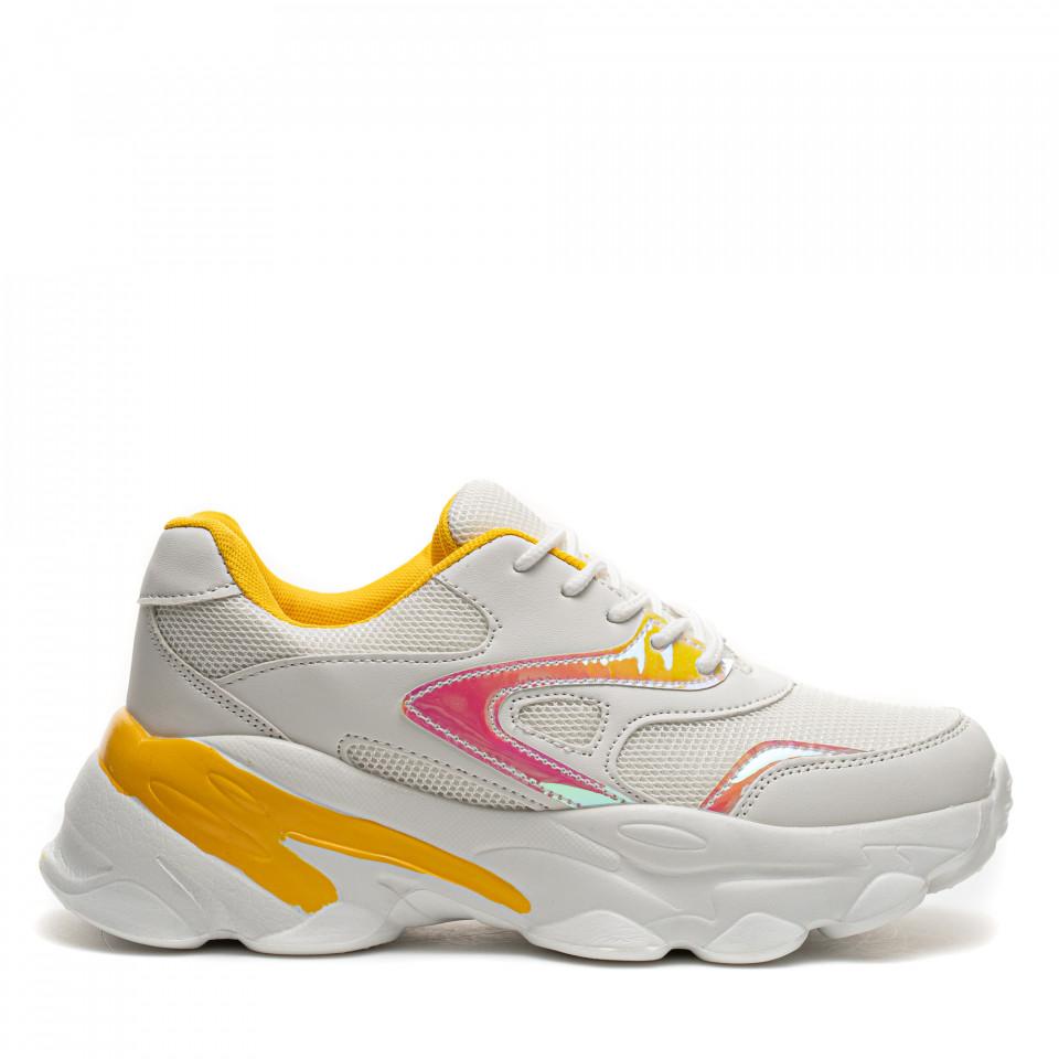 Pantofi Sport Cod: HQ-M17 WHITE/YELLOW (E011)