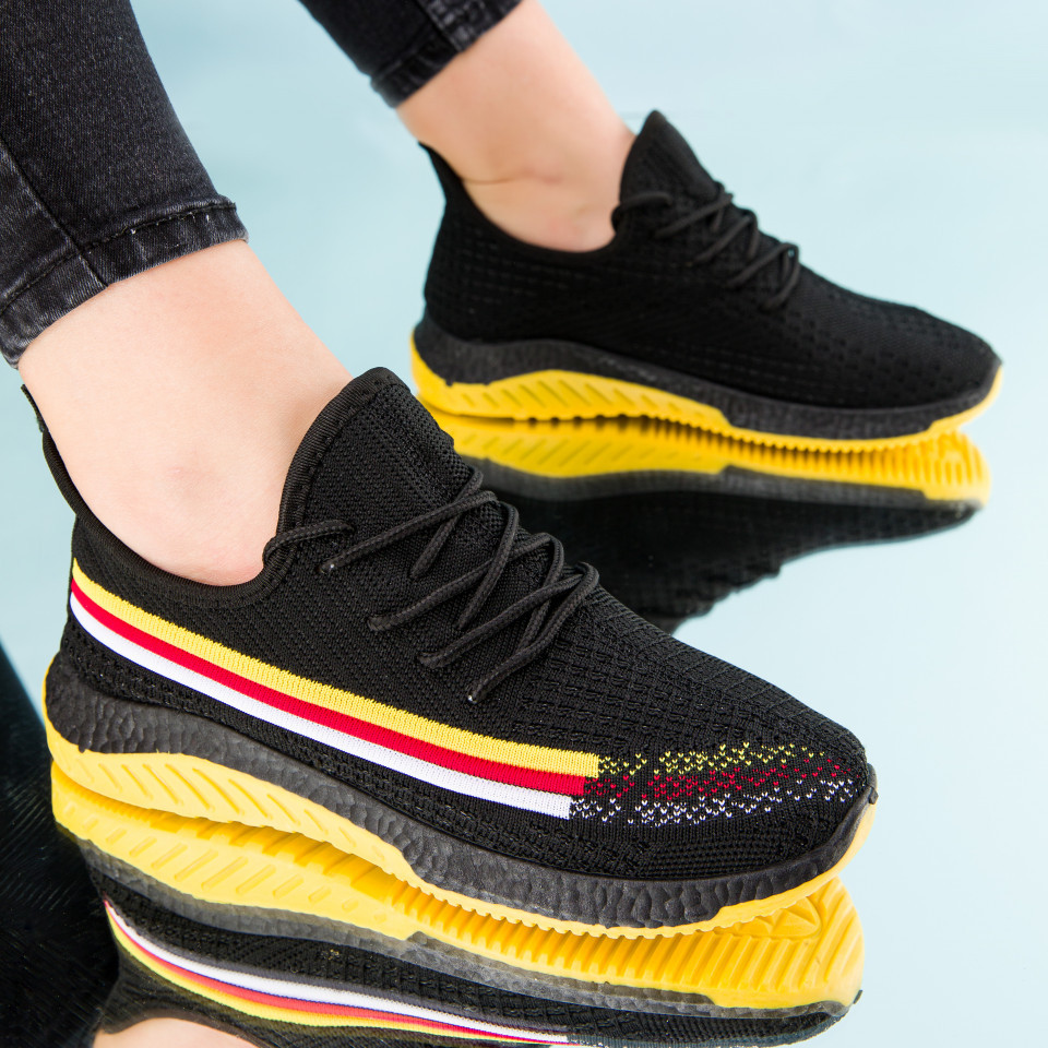 "Pantofi sport ""MireaFashion"" Cod: HQ-2-16 BLACK/YELLOW (B09)"