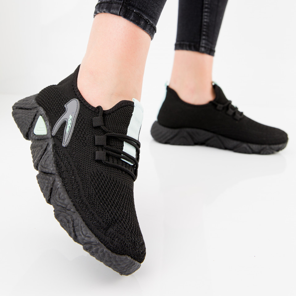 "Pantofi sport ""MireaFashion"" Cod: HQ-202-231 BLACK/L.GREEN (H07)"