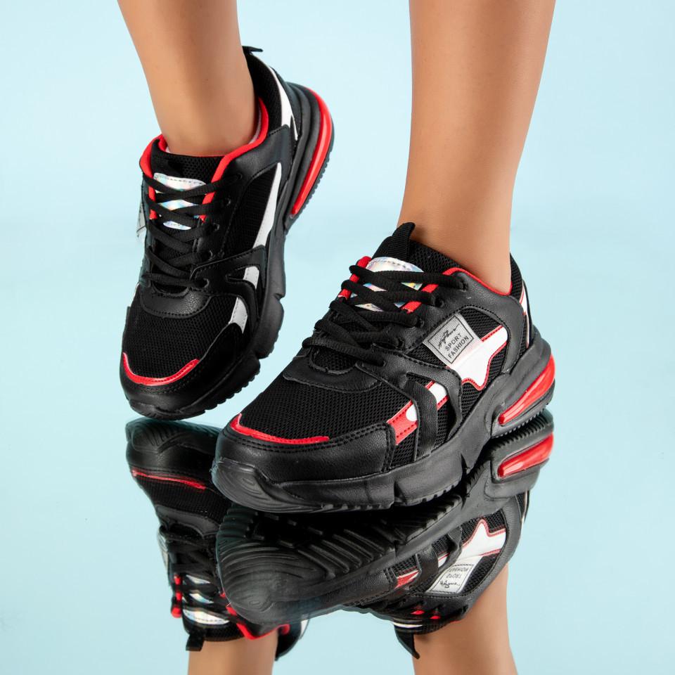 "Pantofi Sport ""MireaFashion"" Cod: HQ726 BLACK/RED (H02)"