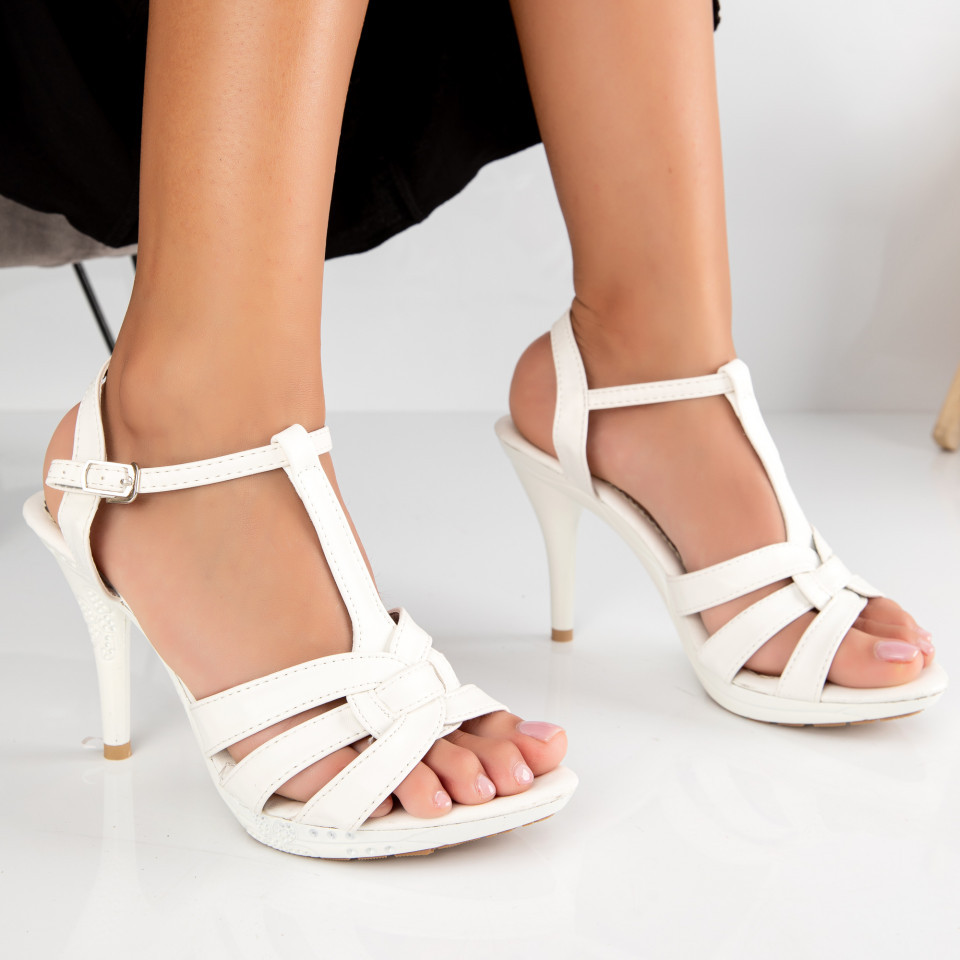 "Sandale ""MireaFashion"" Cod: 2014-16 WHITE (B01)"