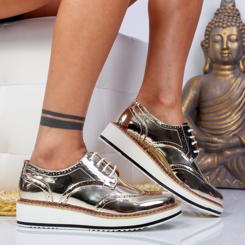 """Pantofi """"MireaFashion"""" Cod: 7A129 GOLD (H06)"""