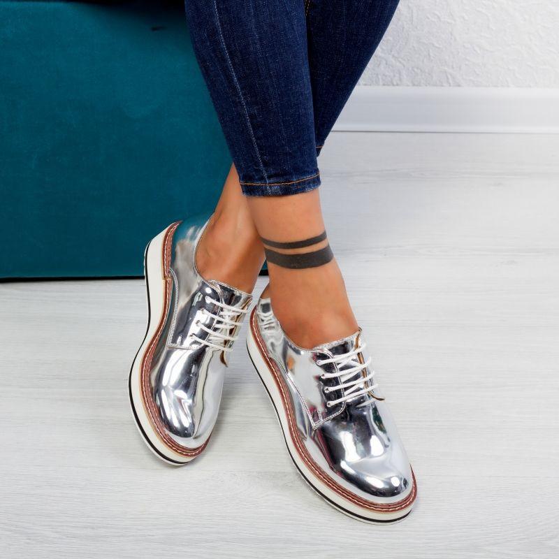 "Pantofi ""MireaFashion"" Cod: 7A130 SILVER ( B08)"