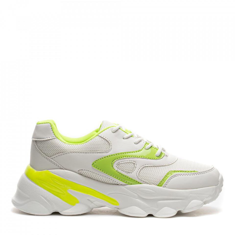 Pantofi Sport Cod: HQ-M18 WHITE/GREEN (E03)
