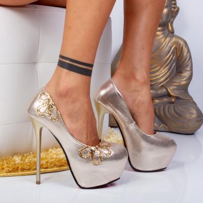 """Pantofi """"MireaFashion"""" Cod: M888-18 Gold (J06)"""