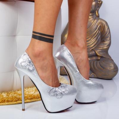 "Pantofi ""MireaFashion"" Cod: M888-18 Silver (C 04)"