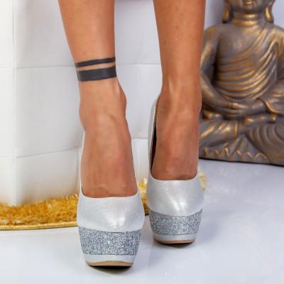 "Pantofi ""MireaFashion"" Cod: XKK6503 SILVER (B013)(C012)"