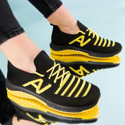 "Pantofi sport ""MireaFashion"" Cod: HQ-3-20 BLACK/YELLOW (E03)"