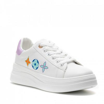 Pantofi Sport Cod: 20A19 WHITE/VIOLET (F02)