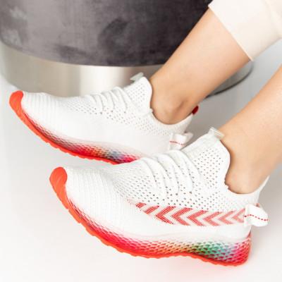 "Pantofi Sport ""MireaFashion"" Cod: J77-6 WHITE/RED (O 02)"
