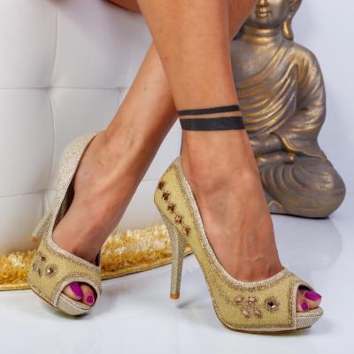 """Pantofi """"MireaFashion"""" Cod: FA-10800 GOLD (O 04)"""