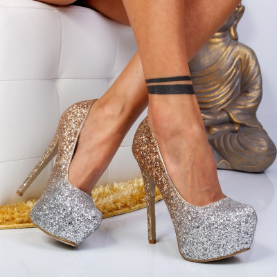 "Pantofi ""MireaFashion"" Cod: XKK7602 GOLD (B07)"