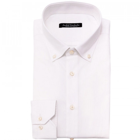 Camasa alba smart-casual cu guler button-dowm