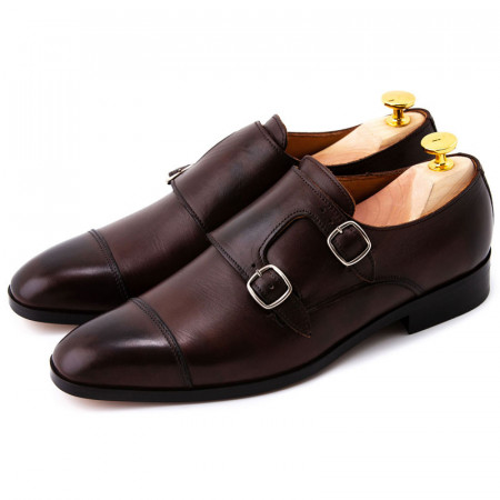 Pantofi barbati maro double monk