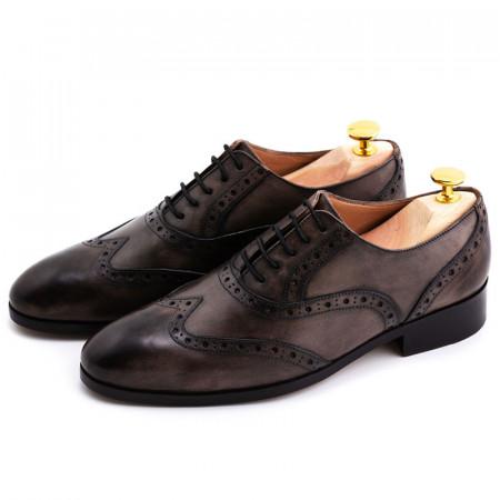 Pantofi barbat patina gri inchis