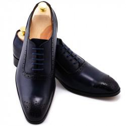 Pantofi business piele patinata bleumarin