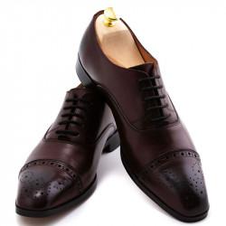Pantofi barbatesti piele patina burgund