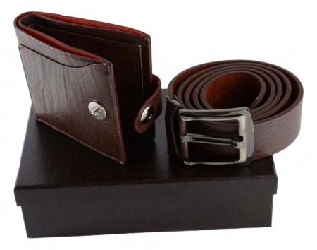 Curea si portofel din piele in cutie eleganta