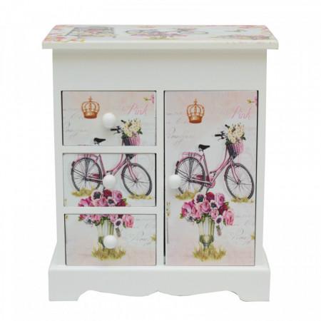Cutie bijuterii cu sertare și ușiță în formă de dulăpior. Design Bicicletă&Trandafiri