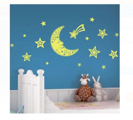 Decor de perete din spuma - Luna si stele fosforescente, 30,5x30,5 cm