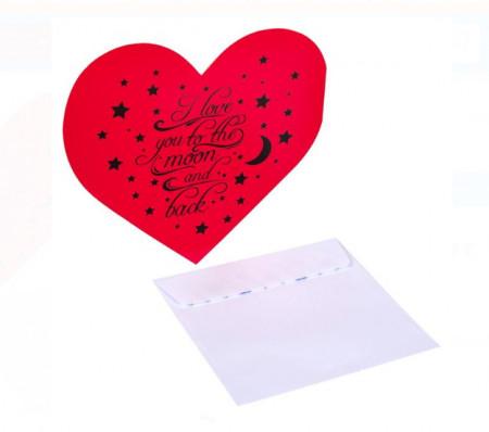 Felicitare Valentine's Inima rosie cu plic 17x12 cm