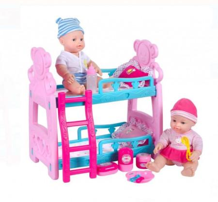 Pat supraetajat cu 2 bebeluși și accesorii, inaltime bebelus 30 cm