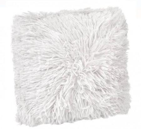 Perna decorativa blana artificiala alba