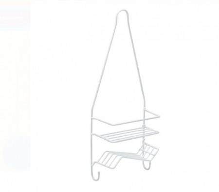 Raft pentru baie din metal 2 pozitii 2 cârlige - 17,5x8,5x46 cm
